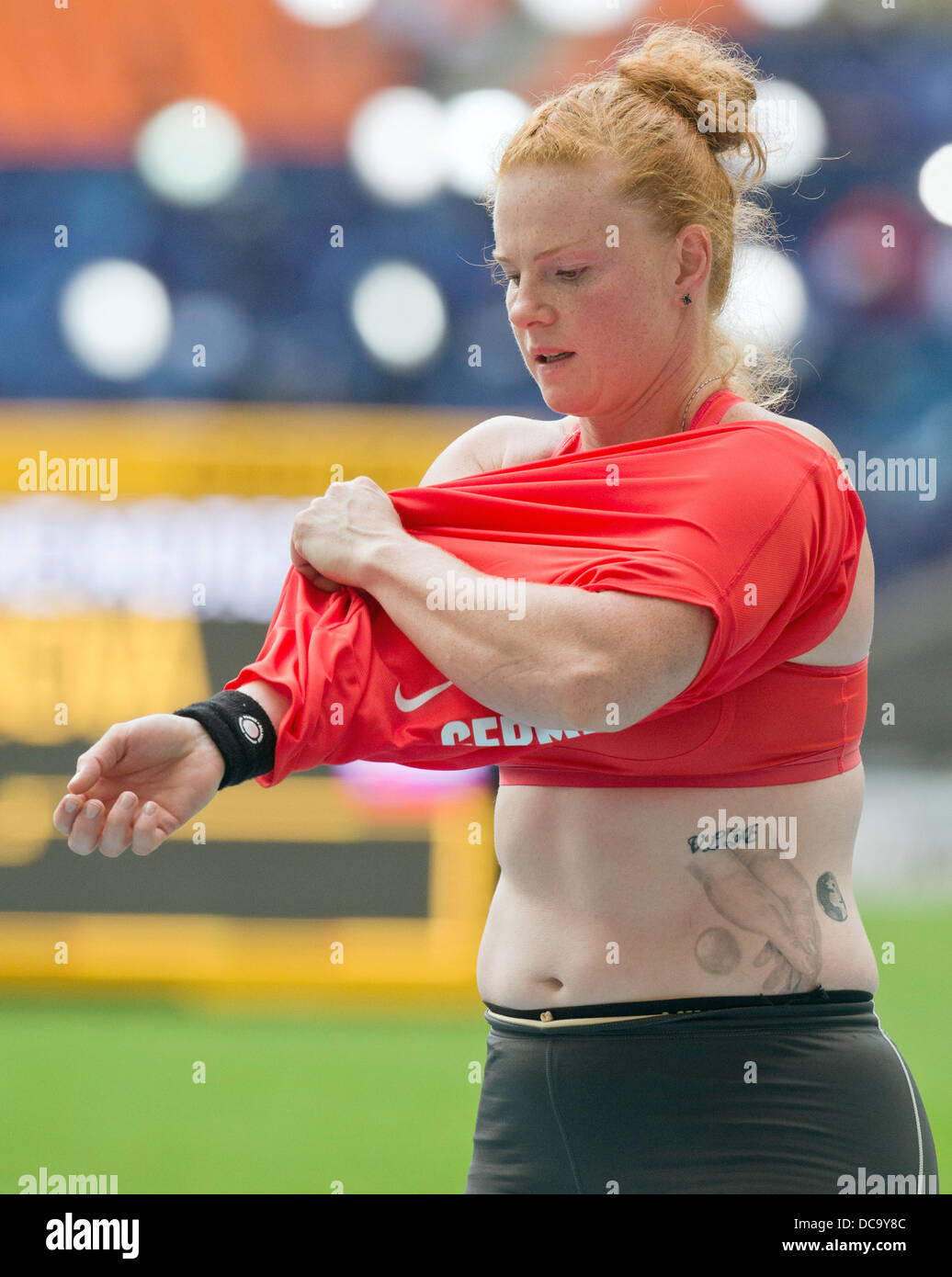 Moscow Russia 14th Aug 2013 Betty Heidler Of Germany Prepares For The Women S Hammer Throw Qualification At The 14th Iaaf World Championships In Athletics At Luzhniki Stadium In Moscow Russia 14 August