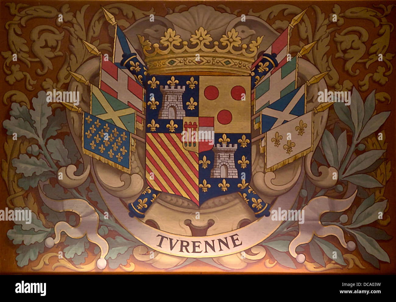The arms of Turenne, ceiling Fair Books (Library) at the Château de Chantilly in Oise. - Stock Image