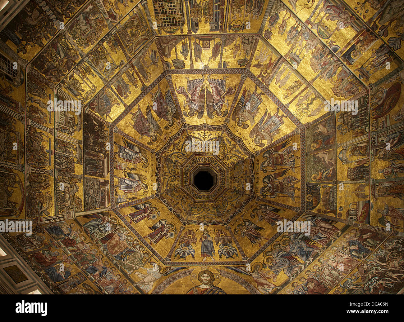 Fragments of the central part of the mosaic of the ceiling of the Baptistery of Florence, Italy. 13th & 14th - Stock Image