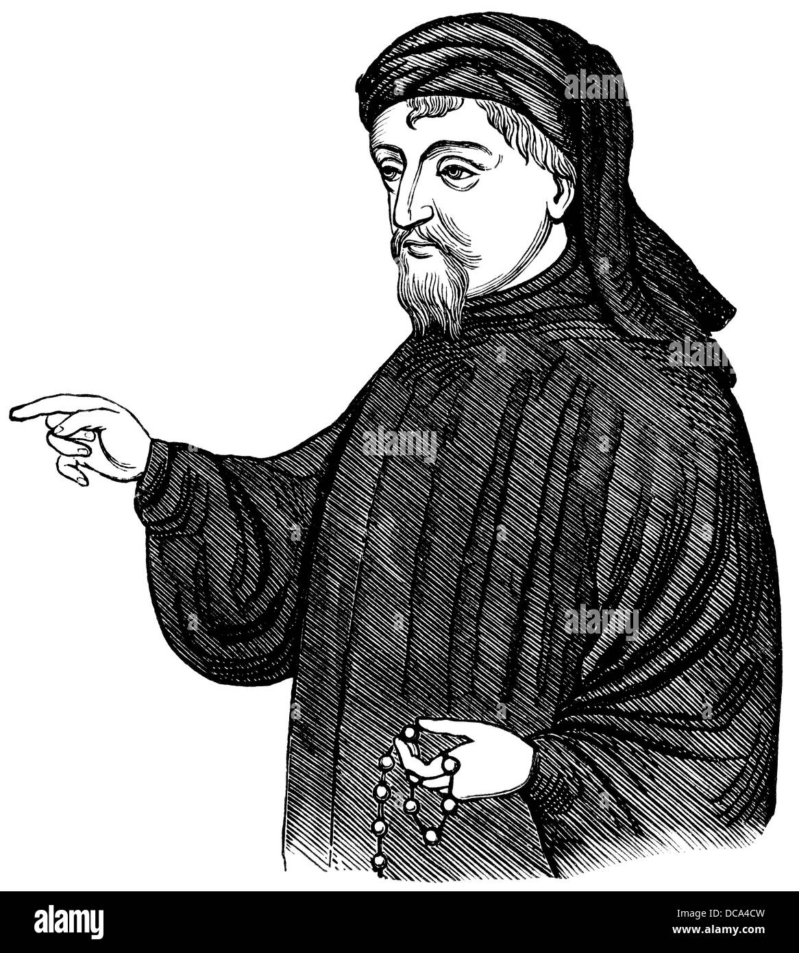 Portrait of Geoffrey Chaucer, ca. 1343 - 1400, part of the Canterbury Tales, 14th Century - Stock Image