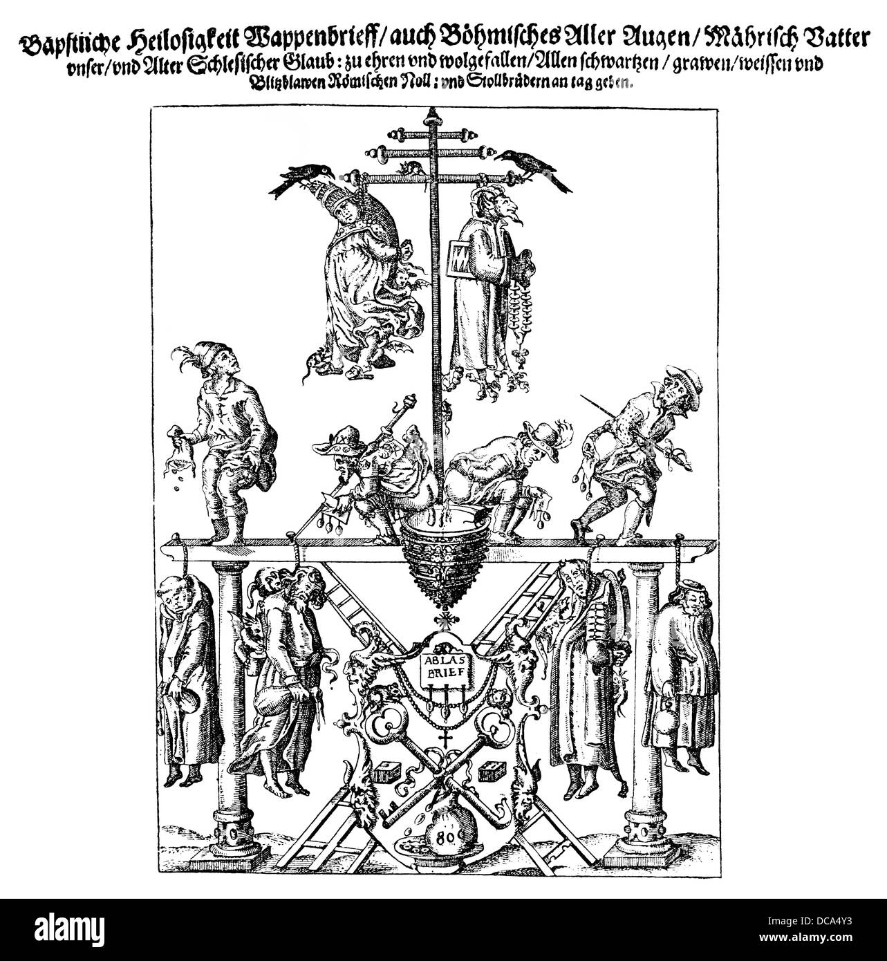 caricature of the Jesuit-controlled Papacy from the 16th Century - Stock Image