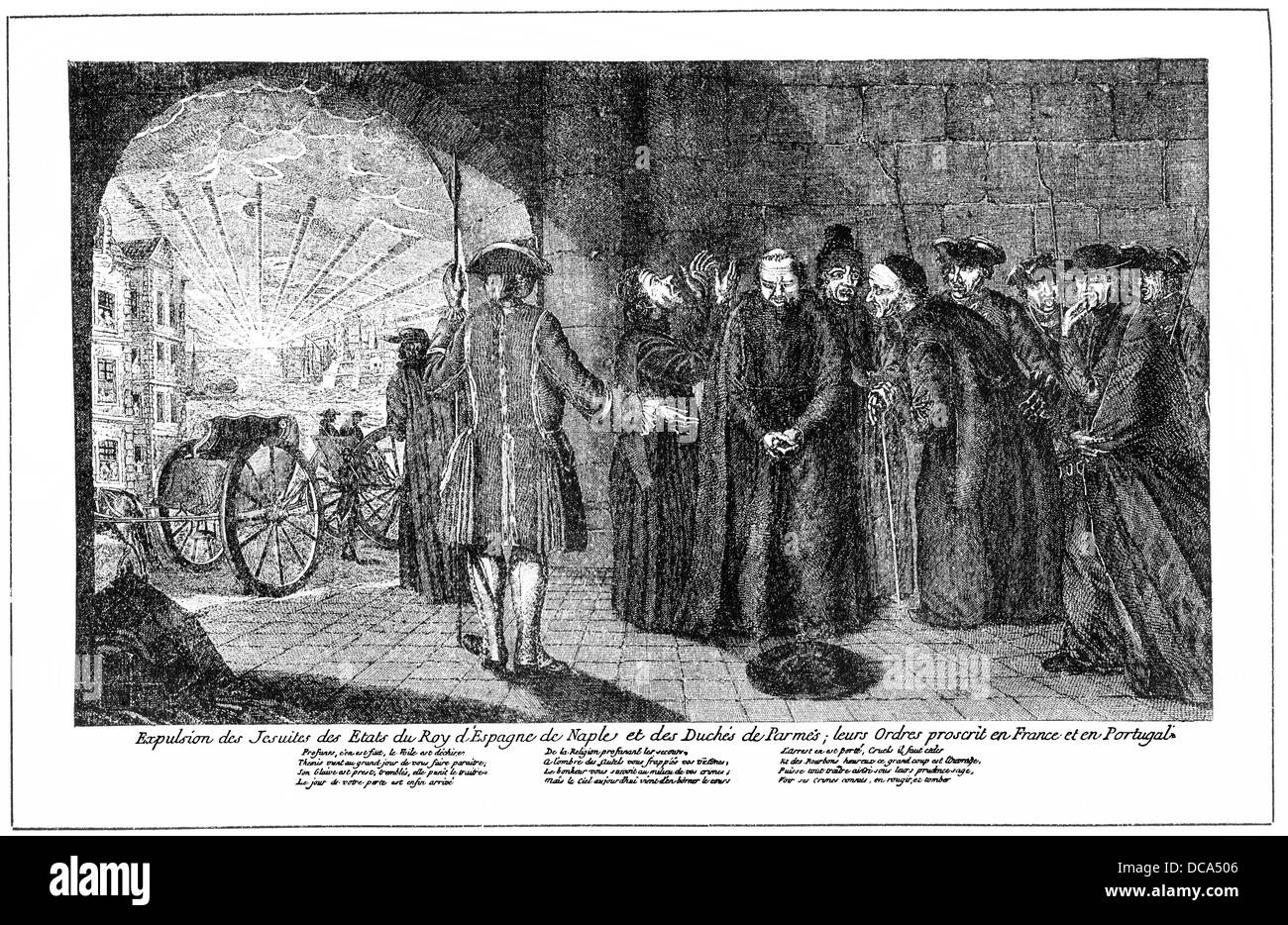 pamphlet from the 16th Century, the expulsion of the Jesuits from Spain, Portugal and Naples - Stock Image
