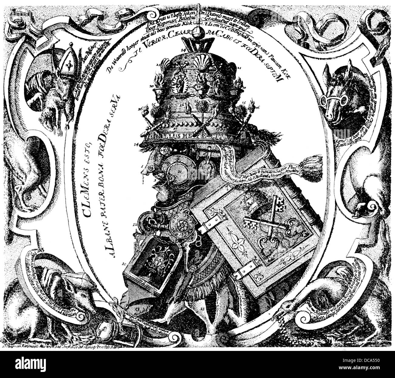 Dutch caricature of the medieval papacy from the 16th Century - Stock Image