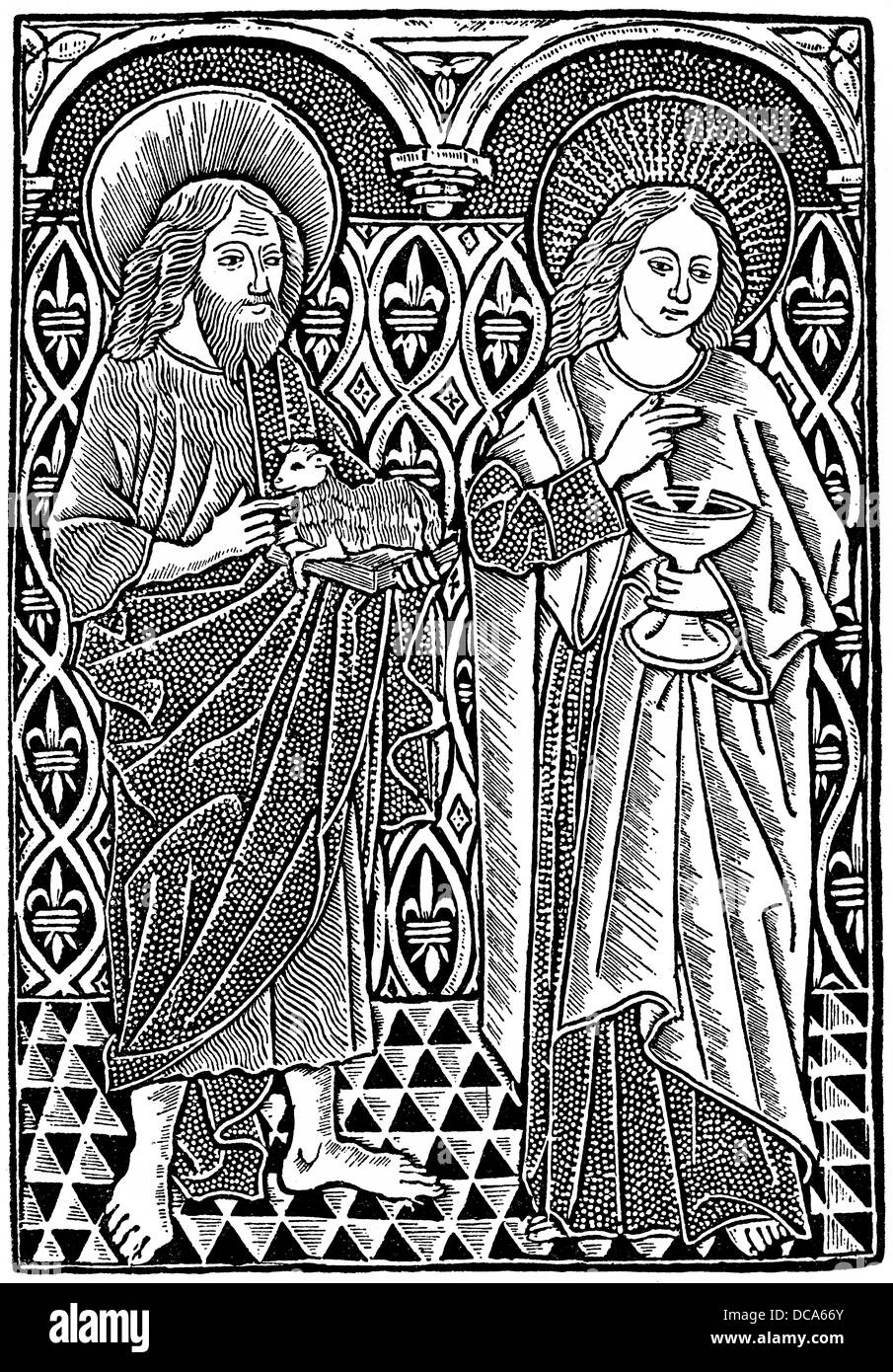 Historical illustration from the 19th Century, after a representation from 1450, John the Baptist and John the Evangelist - Stock Image
