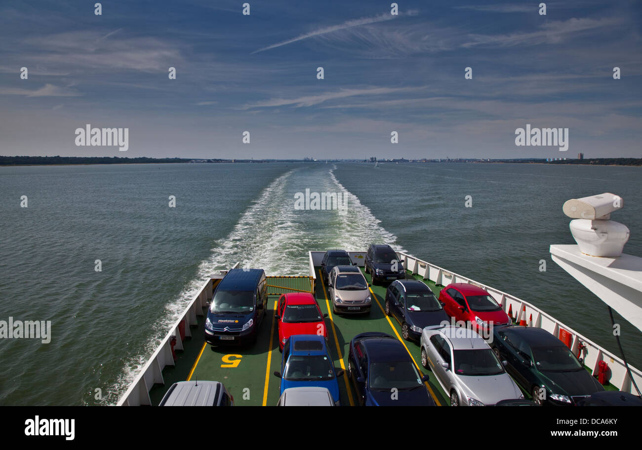 Aboard the Red Funnel Ferry Red Osprey on Southampton Water from Southampton to Cowes, Isle of Wight, Hampshire, - Stock Image