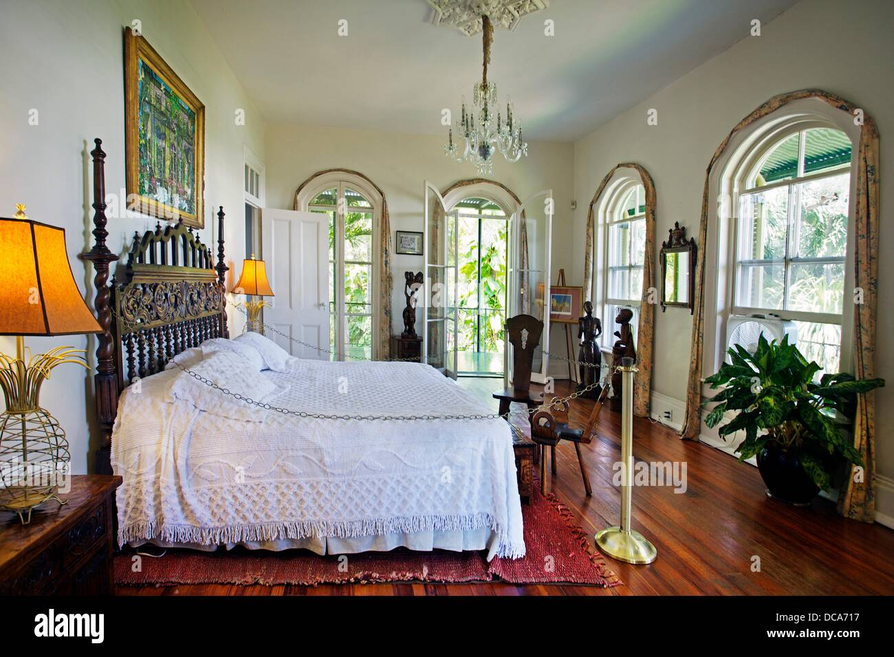 Bedroom, Ernest Hemingway home and museum  Key West  Florida, USA Stock Photo