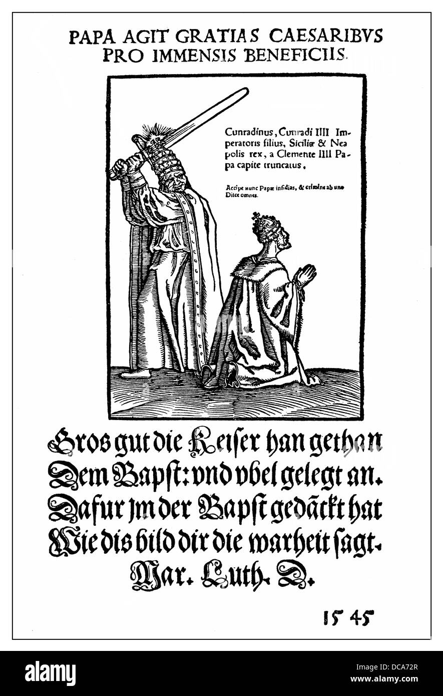 Historical satirical pamphlet on the papacy from 1545, the Pope beheading the emperor, from Lucas Cranach and Martin - Stock Image