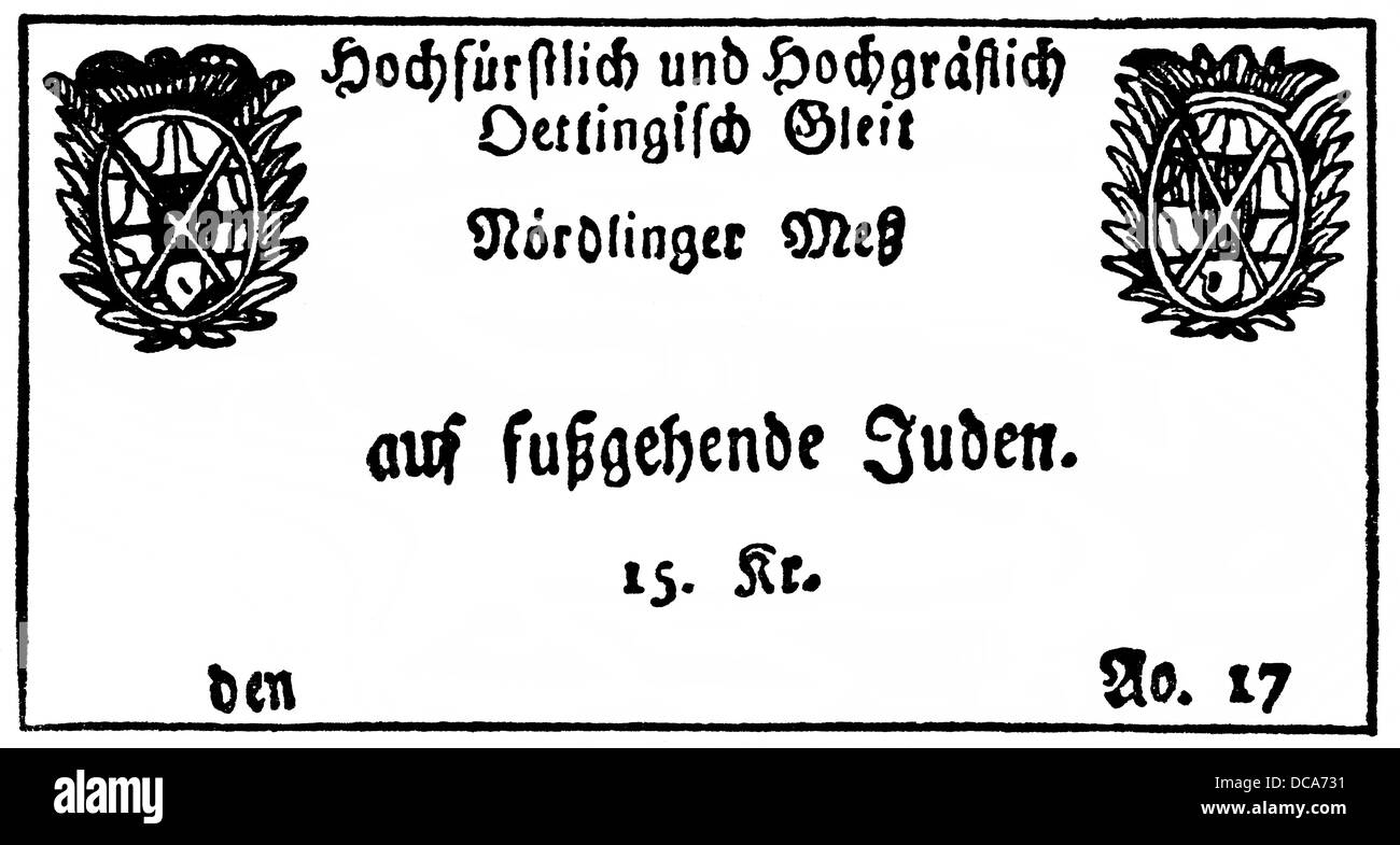 Jewish passage certificate to Noerdlinger Messe fair, example of Christian anti-Judaism in the 18th century in Germany - Stock Image