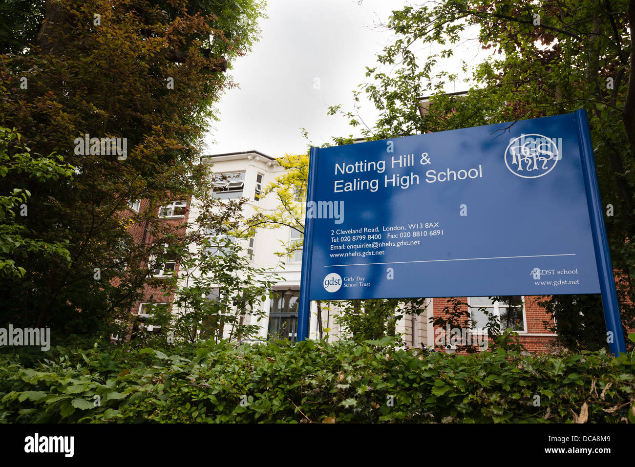 School sign outside Notting Hill Ealing High School Stock Photo