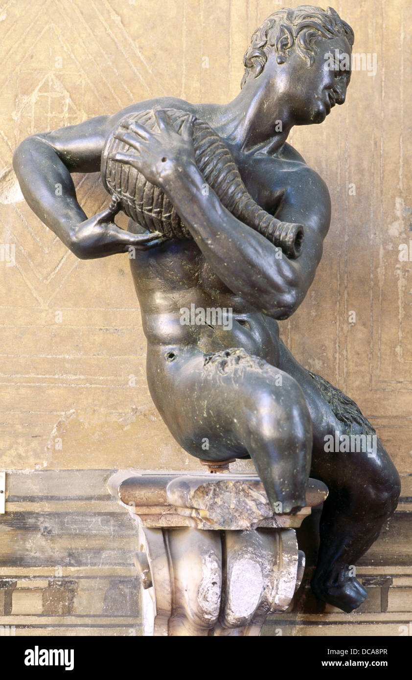 Satyr pouring water, sculpture by Valerio Cioli (1529-1599) in the Museo Nazionale del Bargello, Florence. Italy - Stock Image