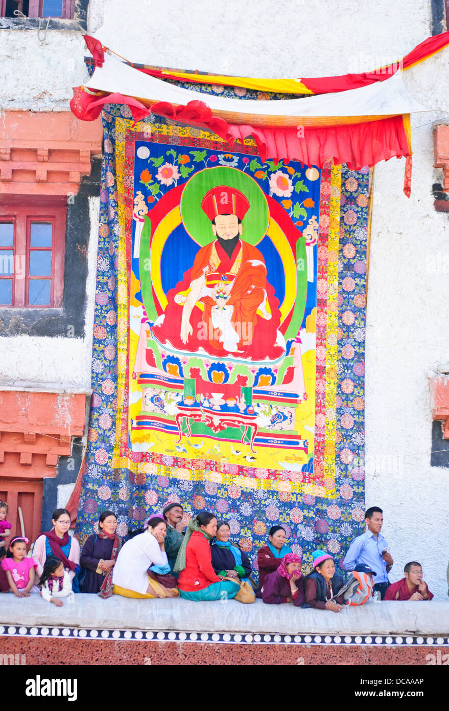 Huge Thangka hanging down from the wall of Hemis monastery building during the festival Stock Photo