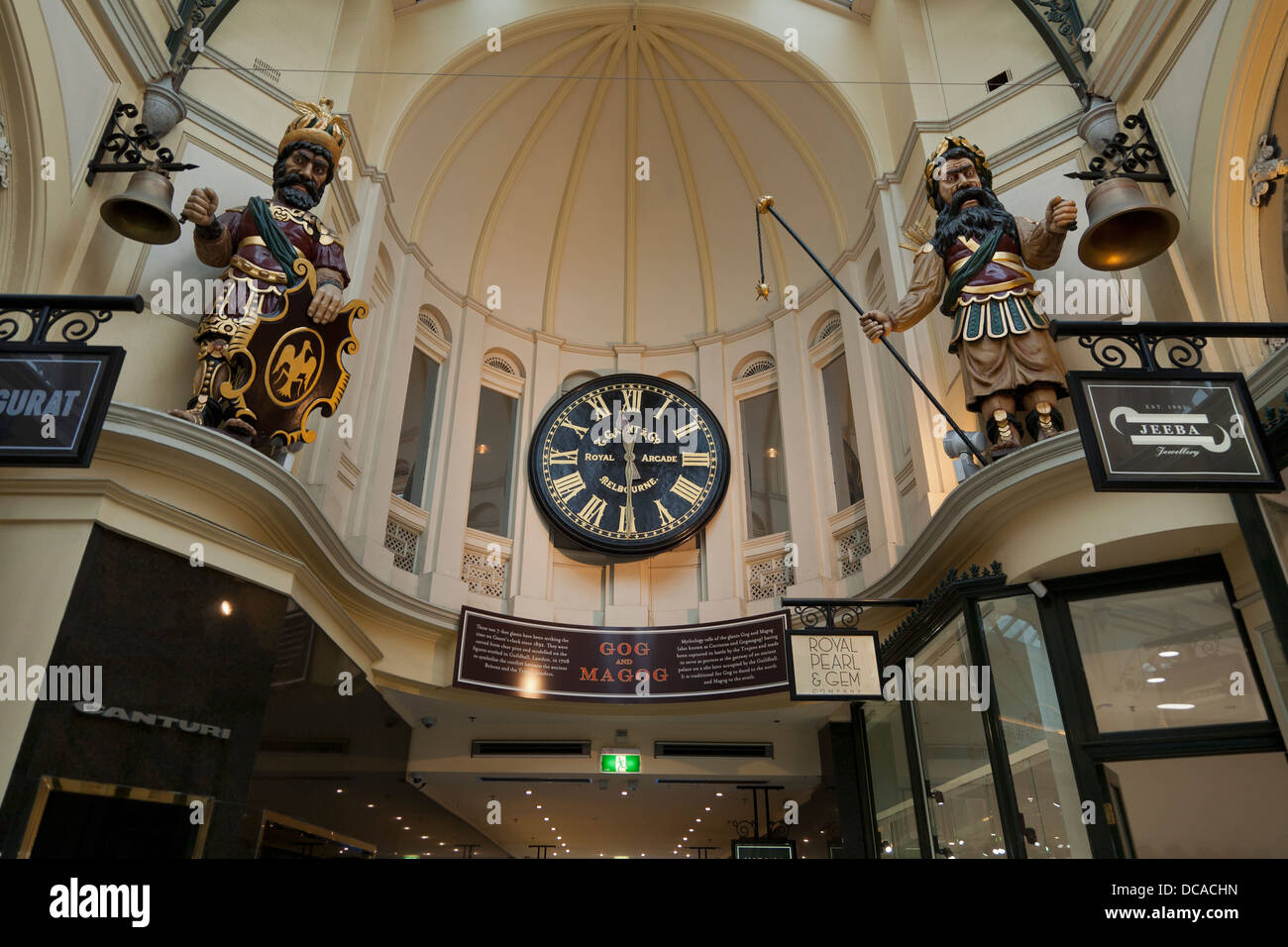 Interior of the Royal Arcade. Mythical figures Gog and Magog with clock. Melbourne, Victoria. Australia. - Stock Image