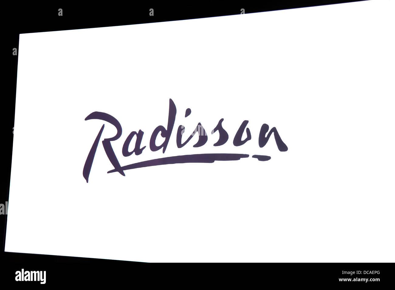 hotel radisson blu interior Agra India hospitality signage - Stock Image
