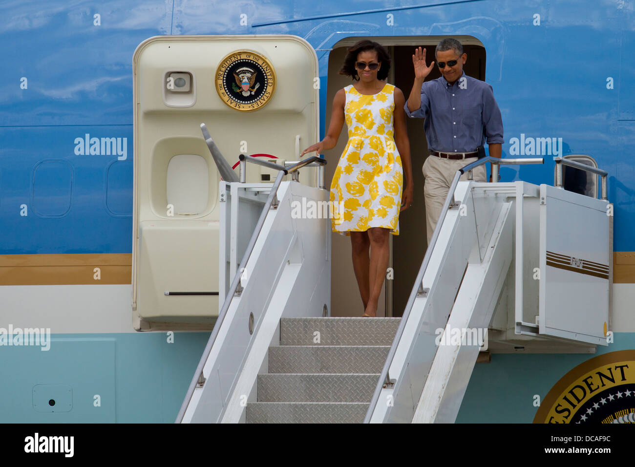 President Barack Obama visits Joint Base Cape Cod on Aug. 10, 2013. President Obama landed on Air Force One and - Stock Image