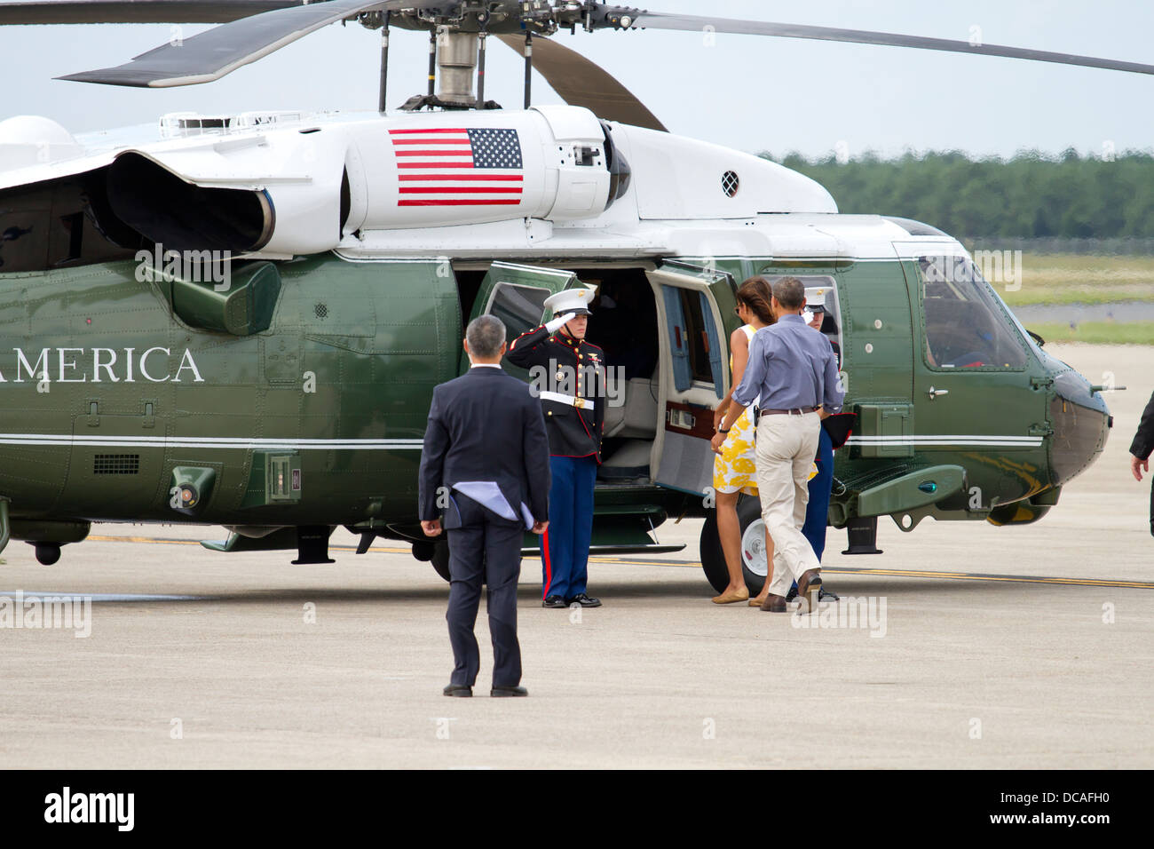President Barack Obama visits Joint Base Cape Cod on August 10, 2013. President Obama landed on Air Force one and - Stock Image