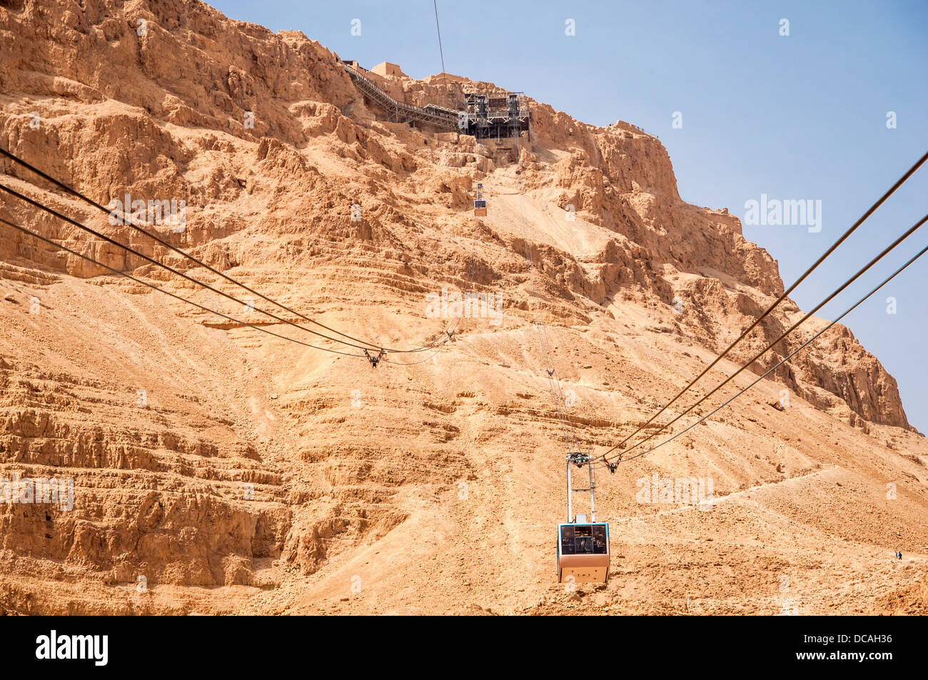 Tranpost to the top of Massada hill by the Cable Car. Judea Desert, Israel. Holy Land. Stock Photo