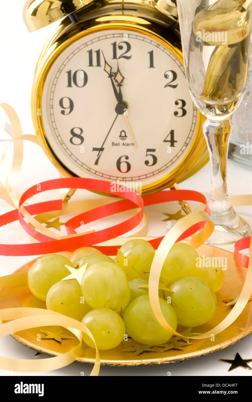 Twelve grapes of luck and New Year´s Eve decoration Stock ...
