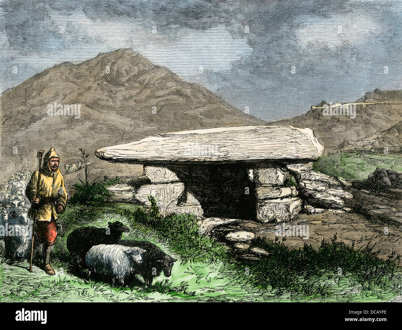Shepherd passing Schliemann's excavations of the third Treasury of Atreus at Mycenae, 1870s. Hand-colored woodcut - Stock Image