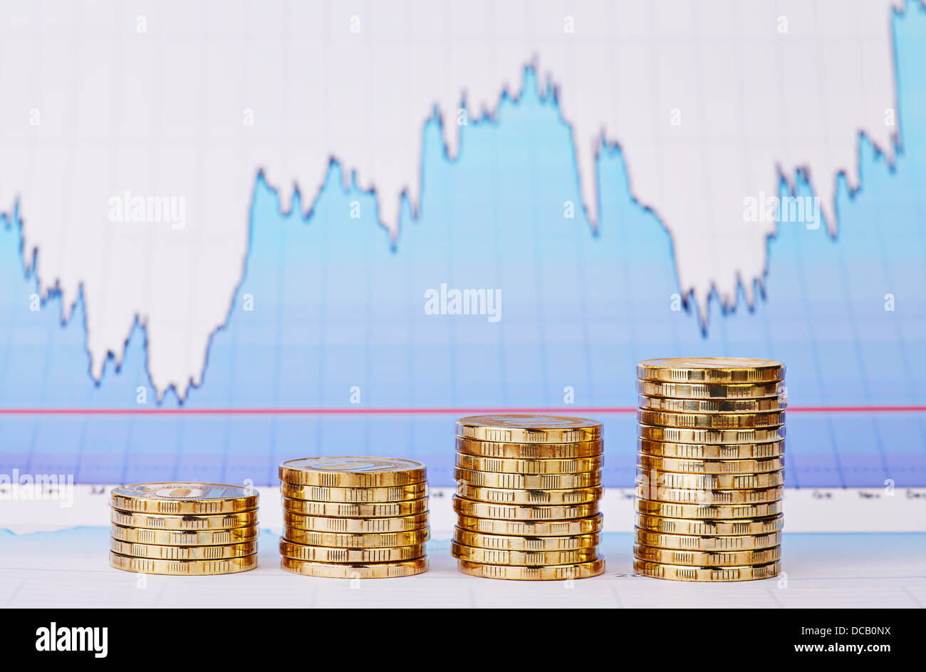 Uptrend stacks of golden coins and financial chart as background. Selective focus - Stock Image