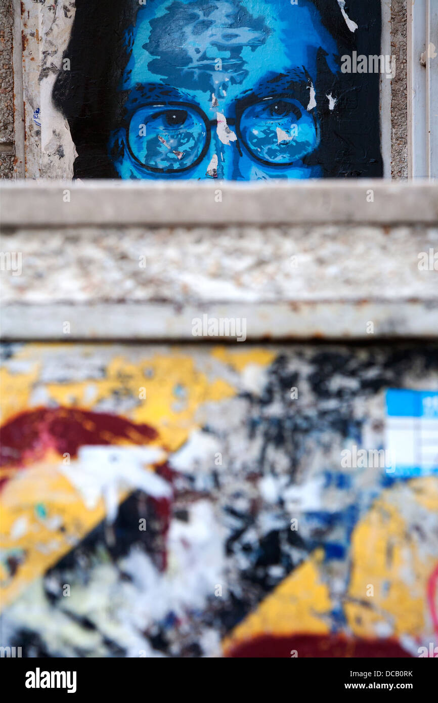 Stencil graffiti, Barcelona, Spain. - Stock Image