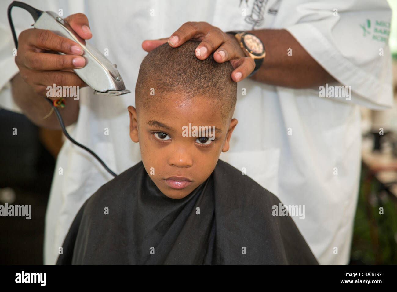 Detroit Michigan Usa A Boy Gets A Haircut At A Back To School