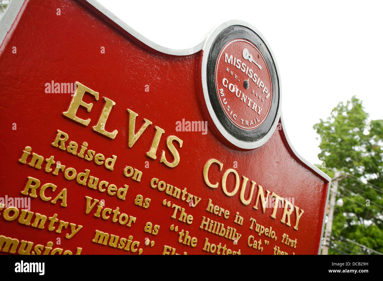 Plaque at the site of Elvis Presleys birthplace in Tupelo Mississippi - Stock Image