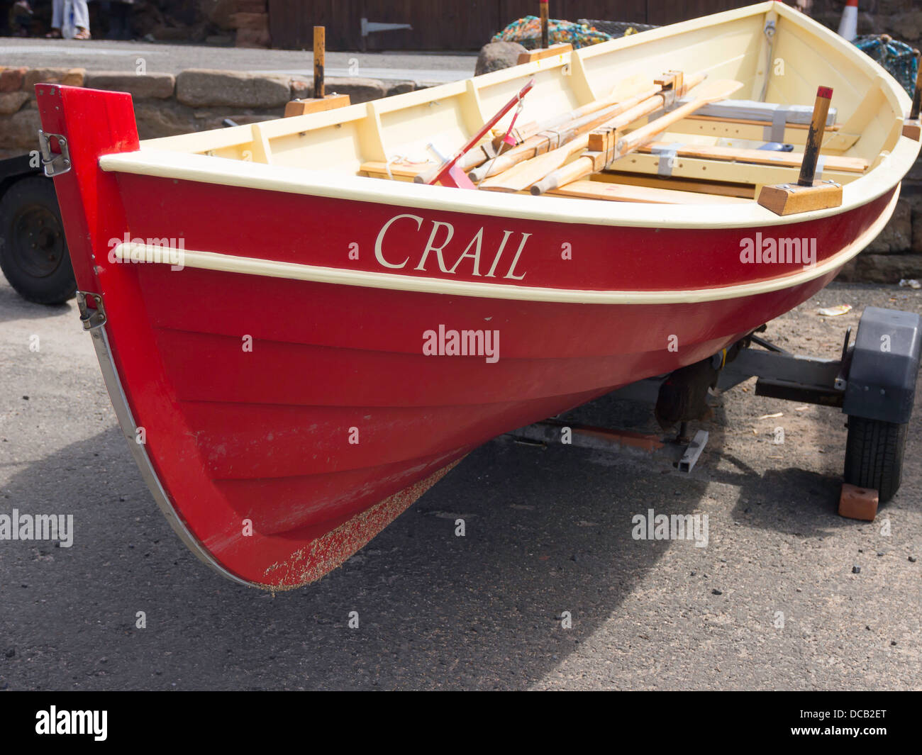 A traditional sea going rowing skiff at Crail Horbour Fife Scotland - Stock Image
