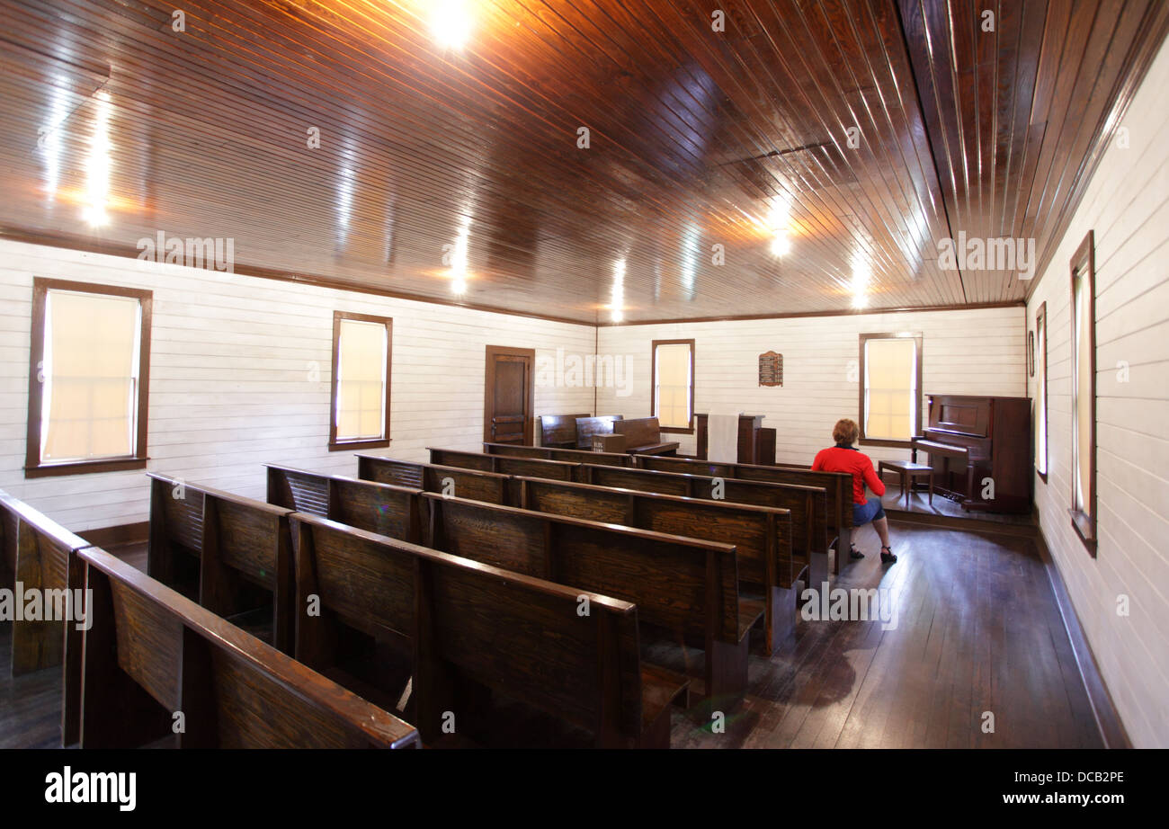 The church where Elvis Presley first sang beside his birthplace in Tupelo Mississippi USA - Stock Image