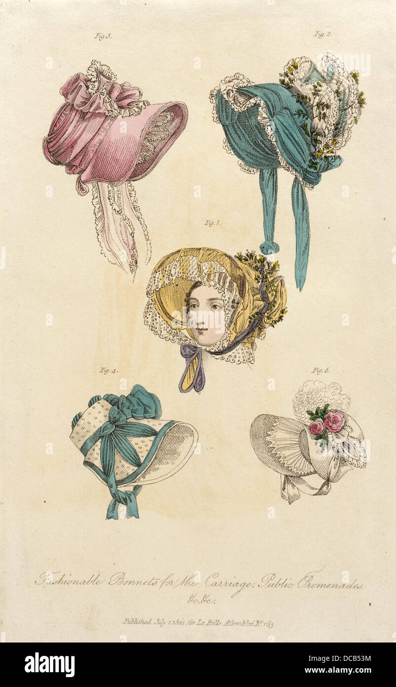 Fashion Plate (Fashionable Bonnets for the Carriage, Public Promenades) M.86.266.328 - Stock Image