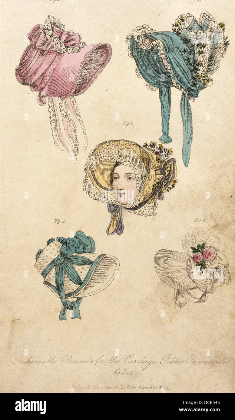 Fashion Plate (Fashionable Bonnets for the Carriage and Public Promenades) M.86.266.330 - Stock Image
