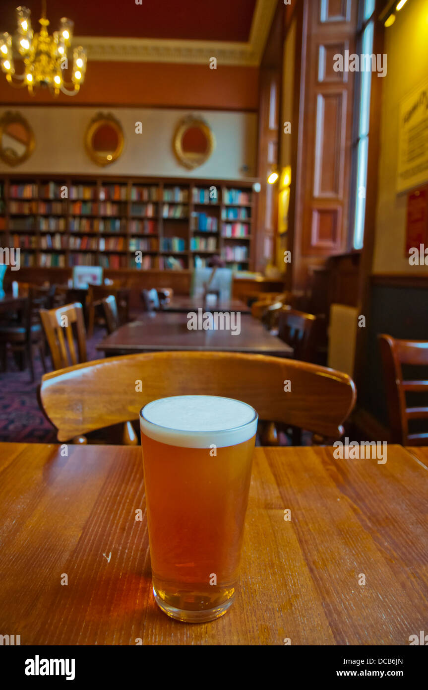 Pint of cask ale beer The Standing Order pub JD Wetherspoon chain New Town central Edinburgh Scotland Britain UK - Stock Image