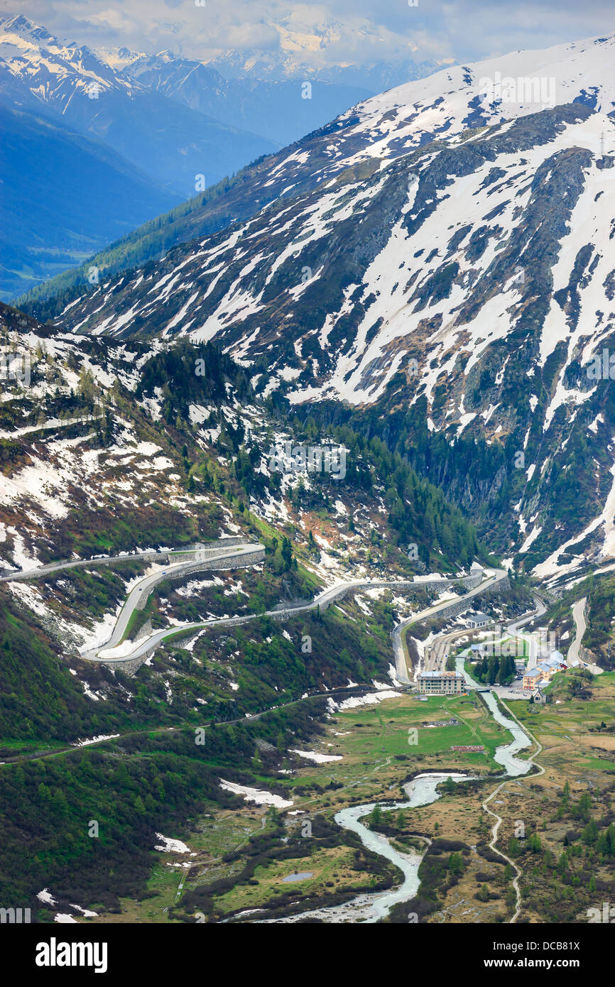 Hairpin on the Furka and Grimsel pass in the Swiss Alps, near Gletsch Stock Photo
