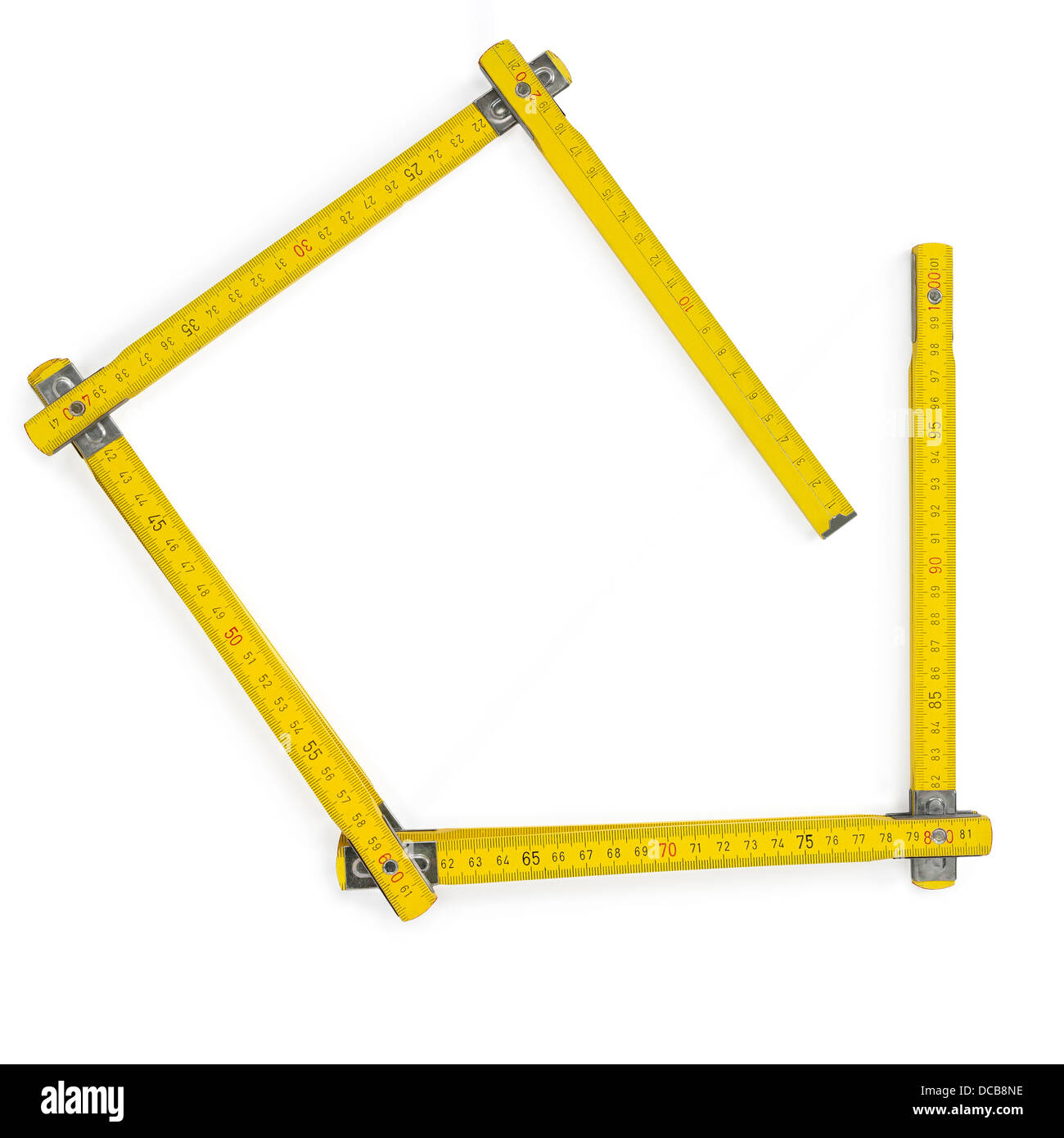 Carpenter rule meter on white. Clipping path - Stock Image