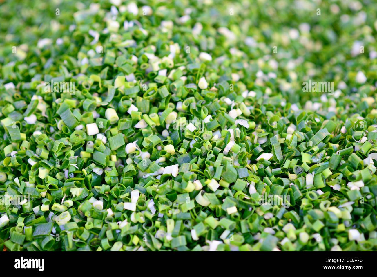 Fresh pile of diced leek onion - Stock Image