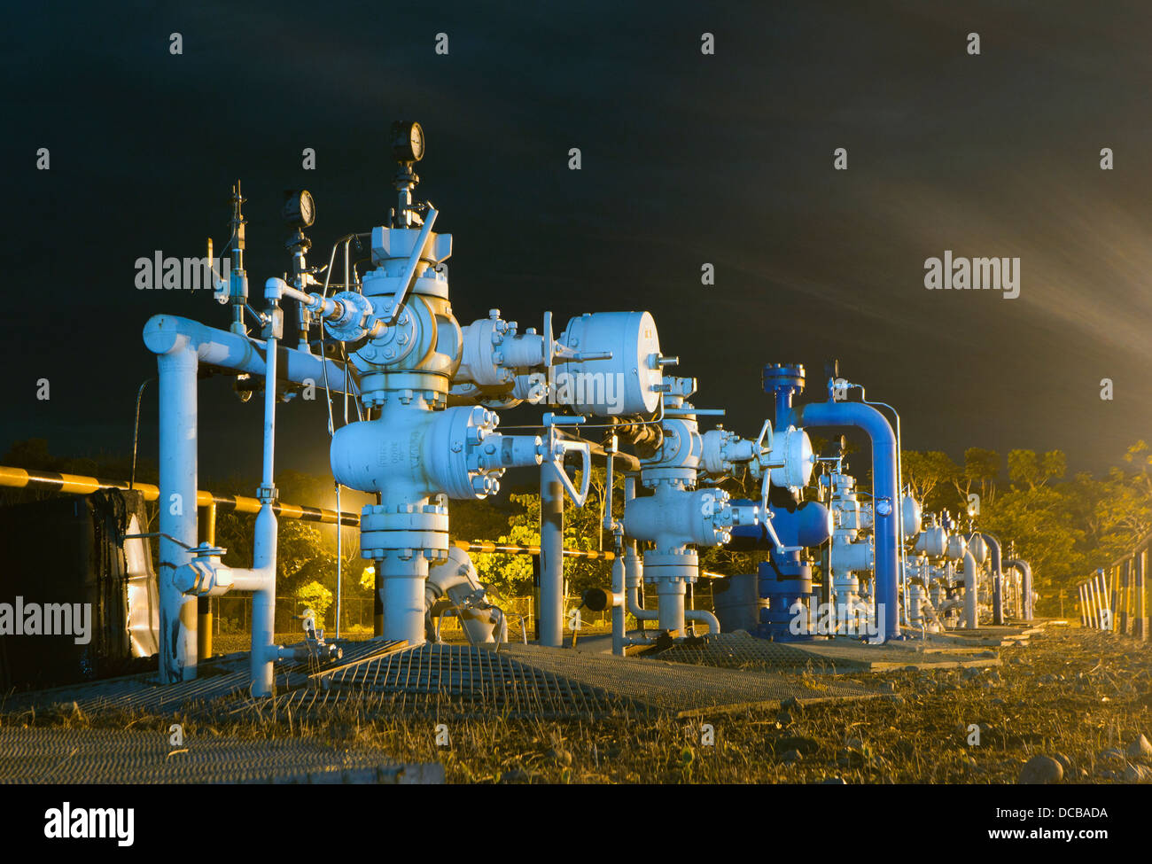 Row Of Christmas Tree Valves On An Oil Well Platform In The Stock