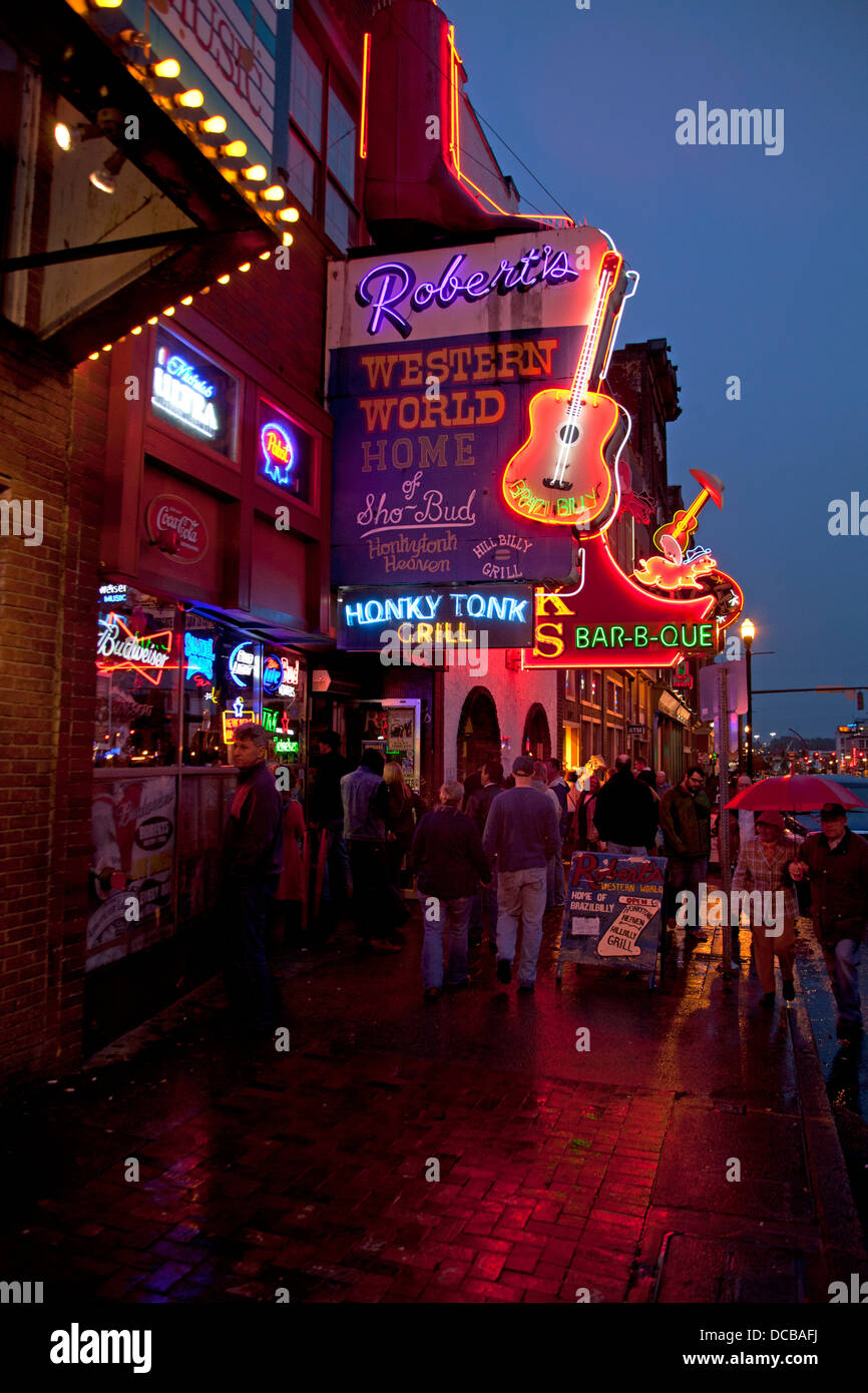 Neon bar signs at night on main street in nashville tennessee stock neon bar signs at night on main street in nashville tennessee aloadofball Image collections