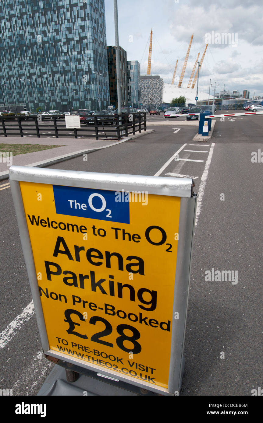 North Greenwich. O2 car park.Sign for Arena Parking, charge of £28 if not pre-booked - Stock Image