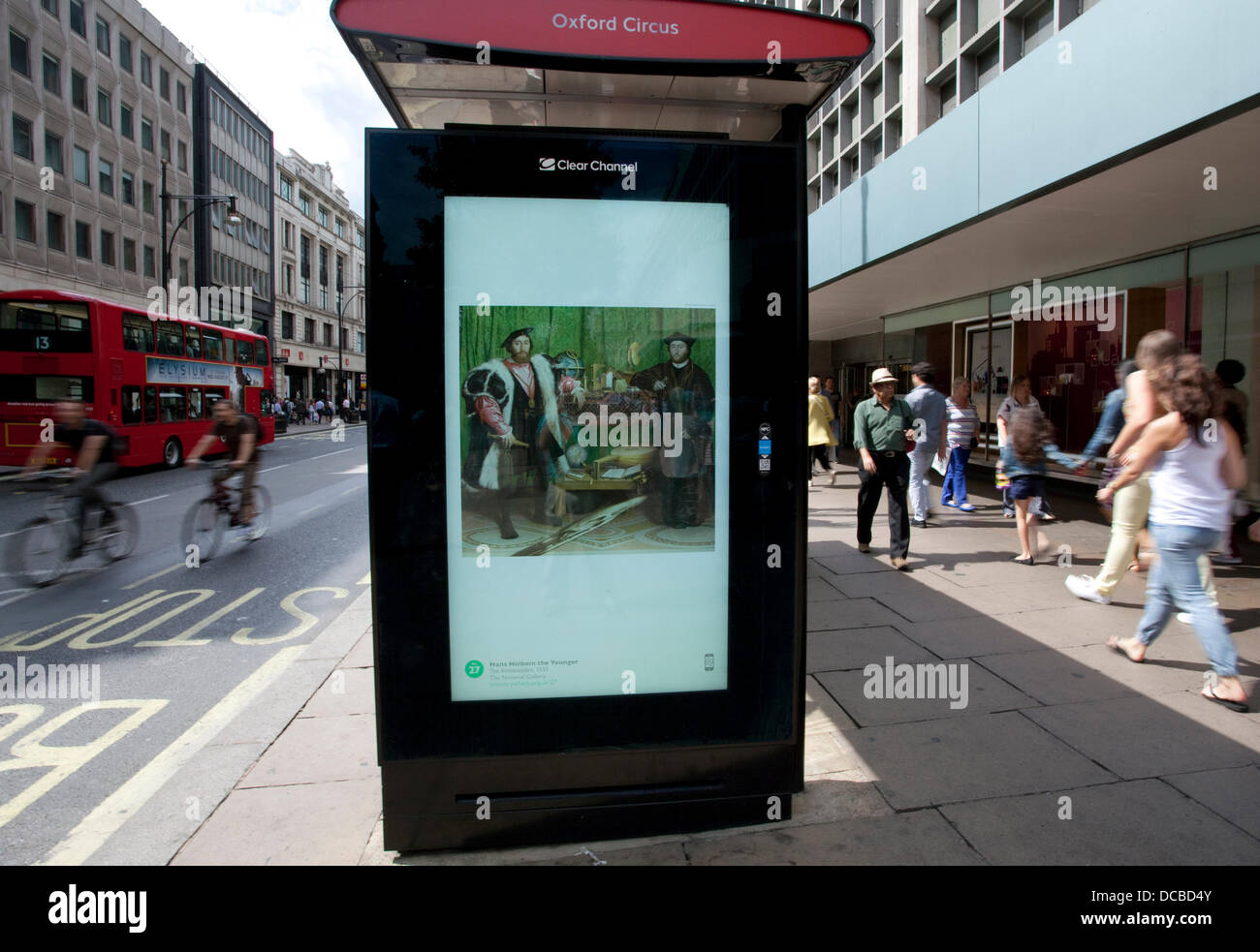 London 14/08/13: Visitors to the John Lewis section of Oxford Street can enjoy a free fine art slide show courtesy - Stock Image