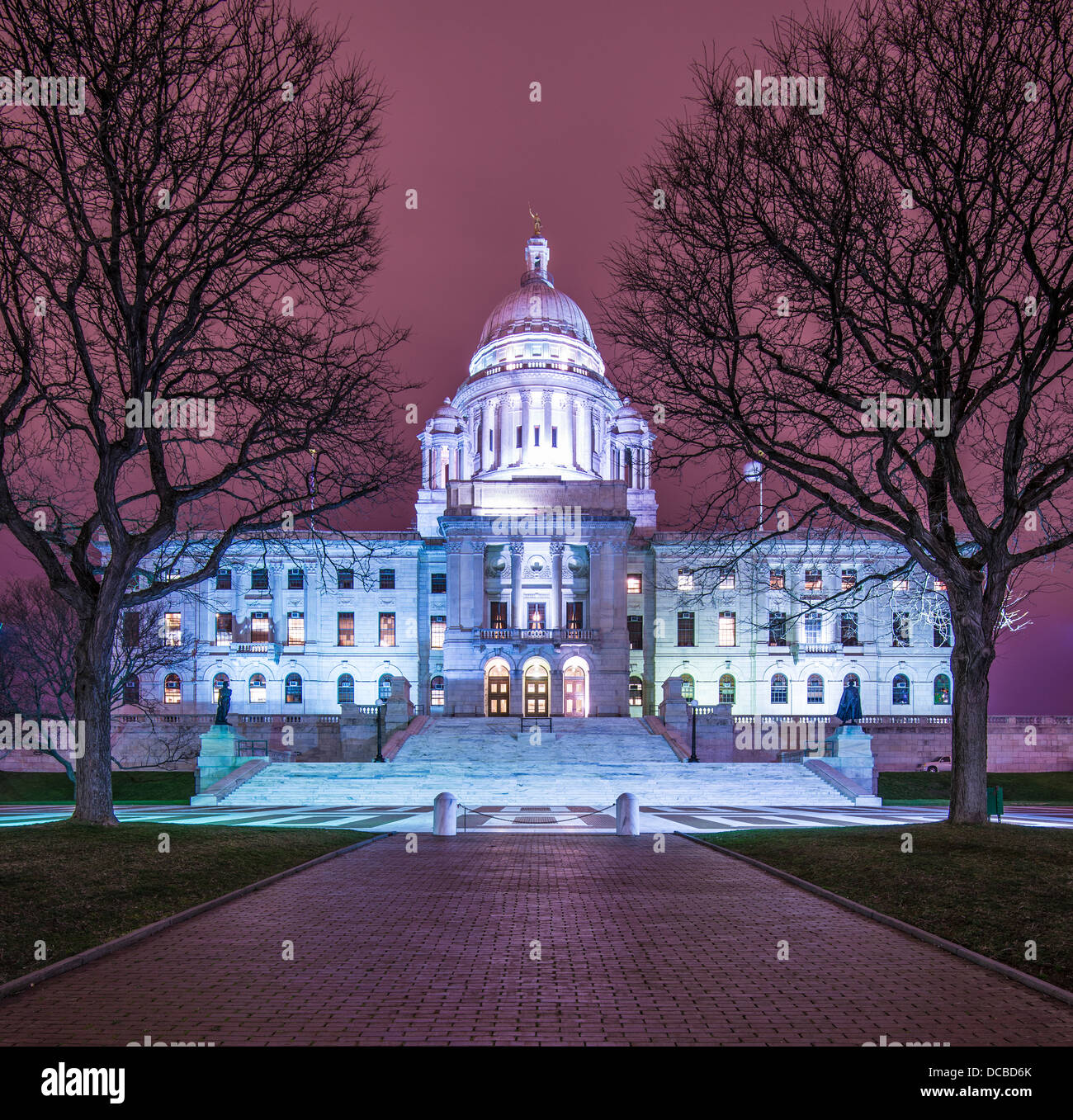 Rhode Island State House in Providence, Rhode Island, USA illuminated at night. - Stock Image