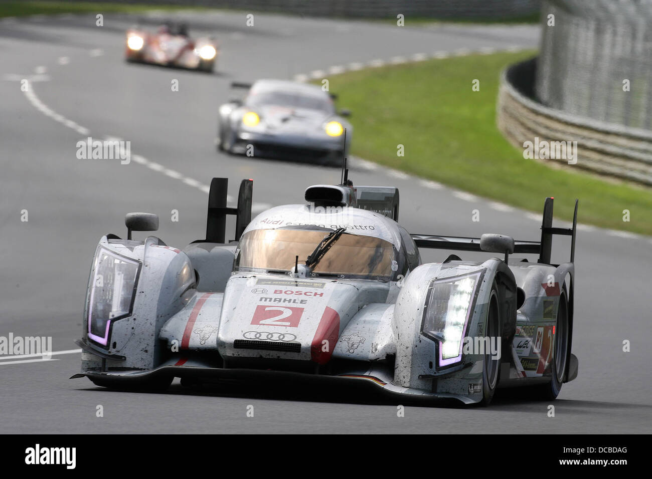 The Audi of McNish, Kristensen and Duval wins the 2013 Le Mans 24 Hours. - Stock Image