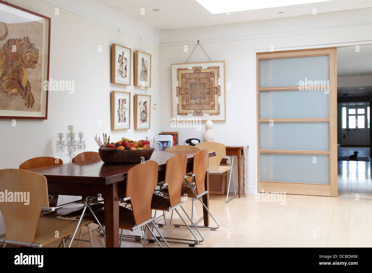 Dining Area With Sliding Door Open Revealing View Through Kitchen To Hall Bowling Home Interior London UK