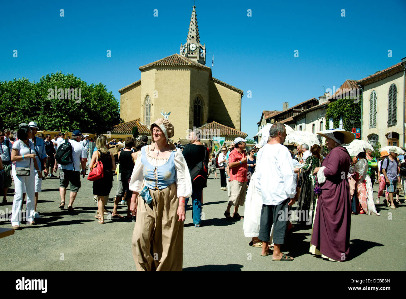 The central square of Lupiac, French village in the Gers, during a festival honoring native son D'Artagnan - Stock Image