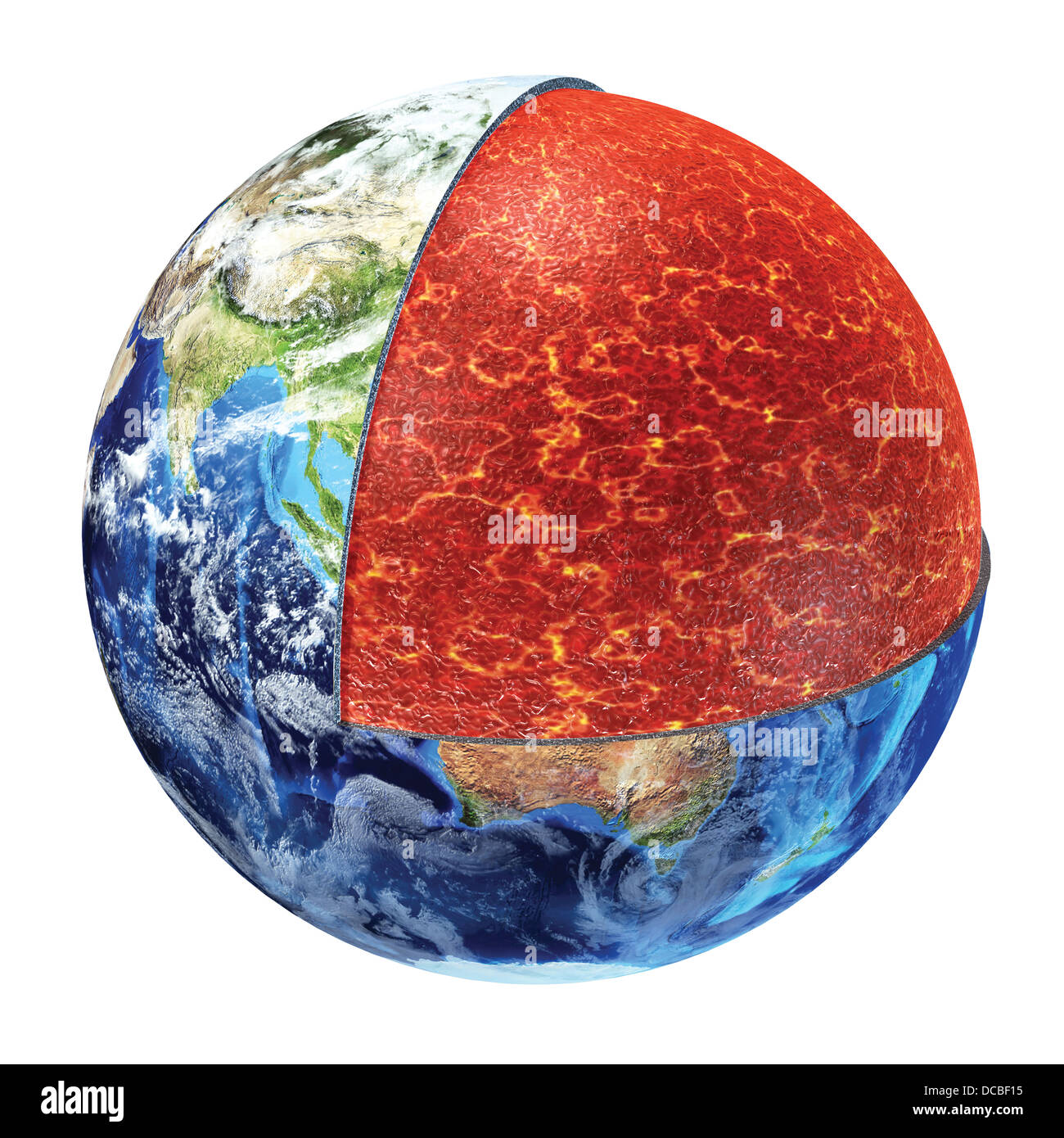 Earth cross section. Showing the upper mantle, made by plastic magnesium, iron, aluminium, silicon and oxygen. 700° - Stock Image