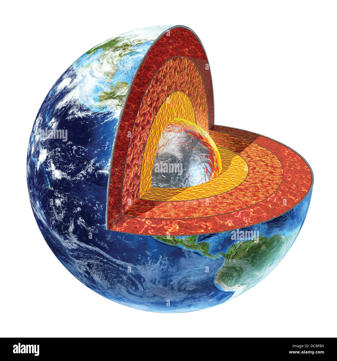 Earth cross section. Showing the inner core, made by solid iron and nickel, with a temperature of 4500° Celsius. - Stock Image