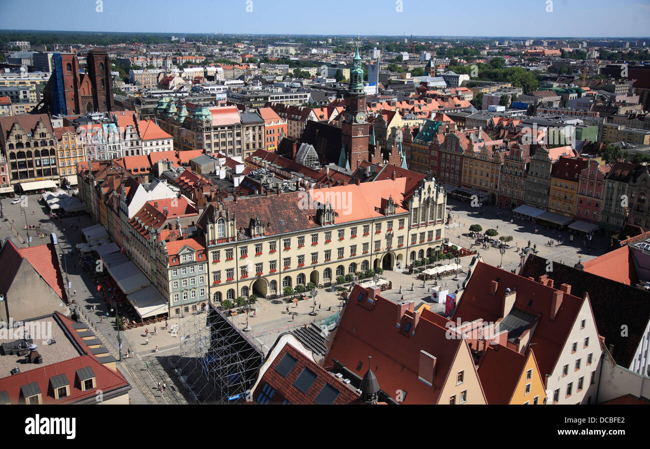 View from tower of Elisabethkirche across the Rynek, Wroclaw, Lower Silesia, Poland, Europe - Stock Image