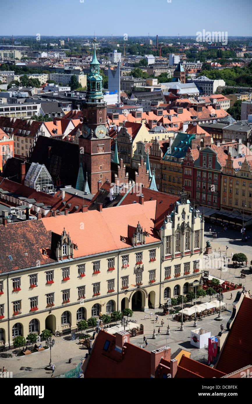 View from tower of Elisabethkirche, Wroclaw, Lower Silesia, Poland, Europe - Stock Image