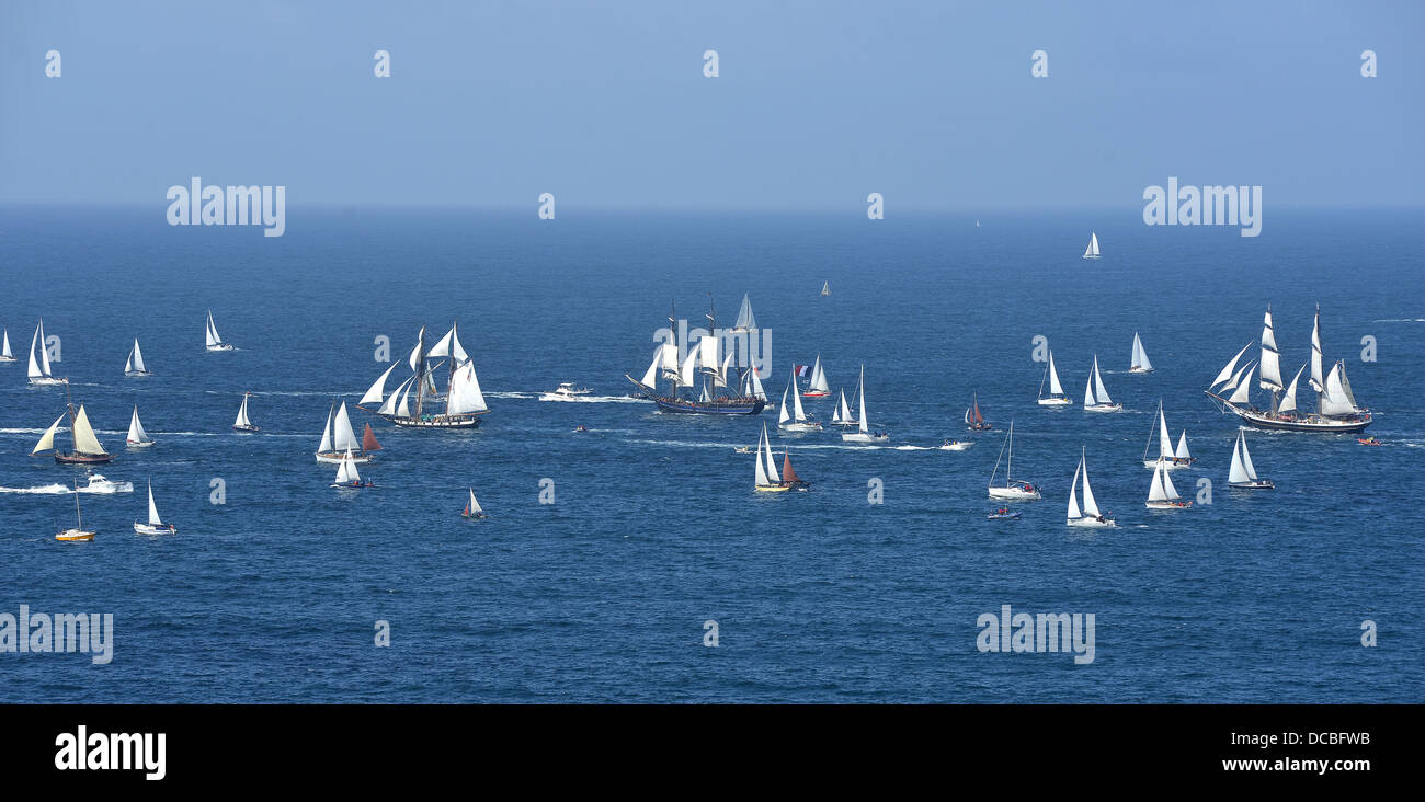 parade of tall ships in the north of France. Brest - Stock Image