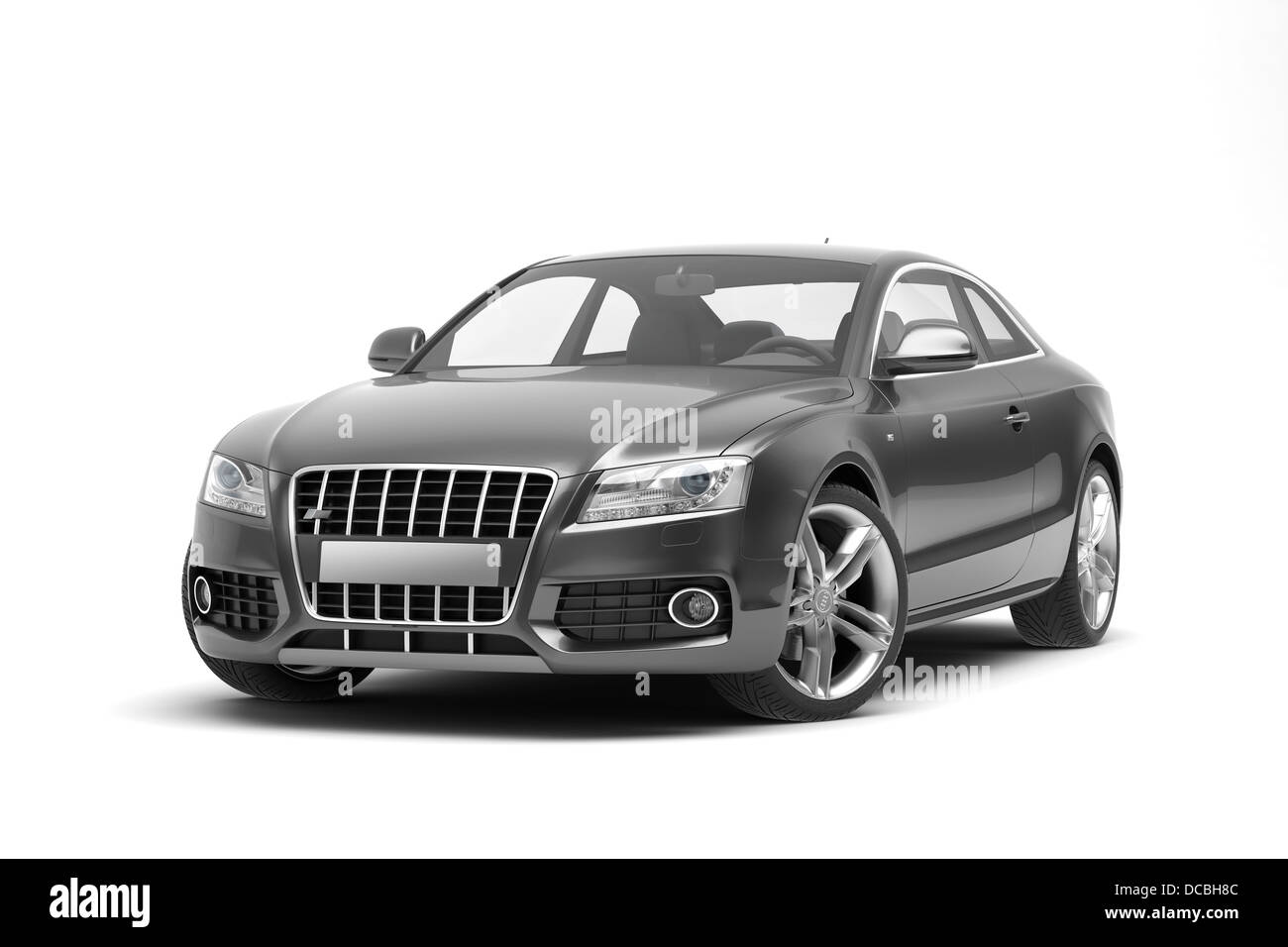 Black sport coupe car, on white background. - Stock Image