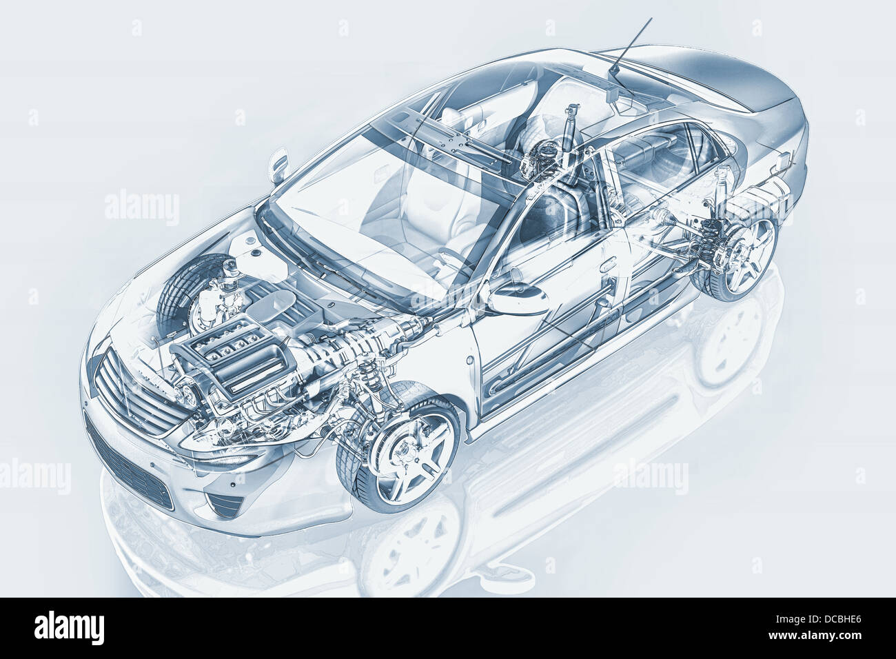 Generic sedan car detailed cutaway representation, with ghost effect, in pencil drawing style, on neutral background. - Stock Image