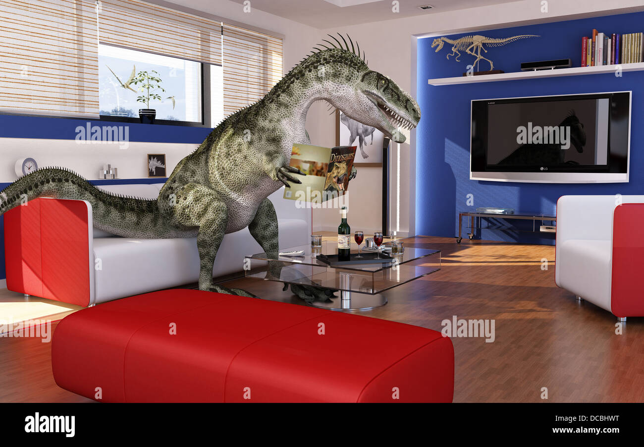 Modern Living Room With A Theropod Dinosaur, Sitting On The Sofa, Reading A  Dinosaurs